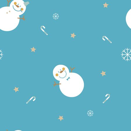 seamless hand drawing snowman, candy cane,star, snowflake repeat pattern in blue background, holiday winter season weather element, merry christmas and happy new year, flat vector illustration design