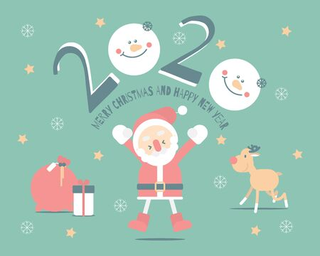merry christmas and happy new year 2020 with cute santa claus, snowflake, star, reindeer, snowman in the winter season green background, flat vector illustration cartoon character costume design Illusztráció