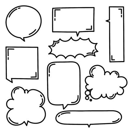 collection set of hand drawing line frame border, speech bubble balloon, think, speak, talk, text box, banner, flat, design, vector, illustration Illusztráció