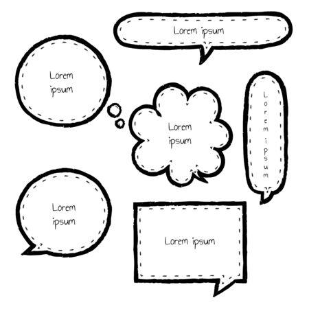 collection set of hand drawing, grunge, crayon, speech bubble balloon, think, speak, talk, template, frame, border, text box, banner, flat, design, vector, illustration