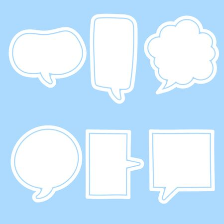 collection set of cute, sweet, white hand drawn speech bubble balloon think speak talk template text box banner frame, flat, design, vector, illustration