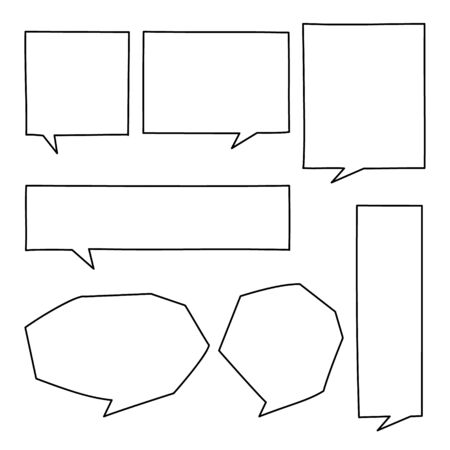collection set of hand drawn line frame border,blank speech bubble balloon square shape, think, speak, talk, text box, banner, flat vector illustration