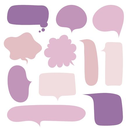 collection set of hand drawn line frame border,blank speech bubble balloon purple color, think, speak, talk, text box, banner, flat design vector illustration