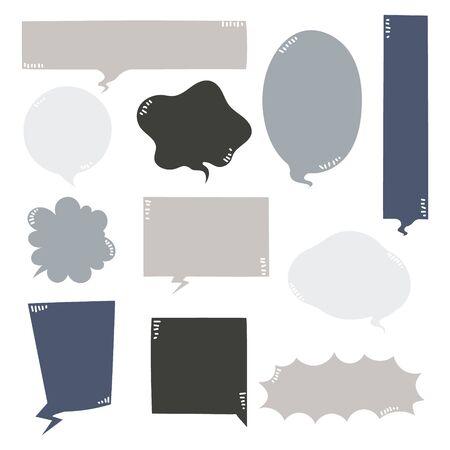 collection set of hand drawn line frame border,blank speech bubble balloon blue pastel color, think, speak, talk, text box, banner, flat design vector illustration Illusztráció