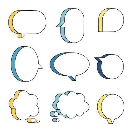 set of 3D speech bubble balloon think, speak, talk, template, text box banner, yellow and blue color, flat design vector illustration Illusztráció
