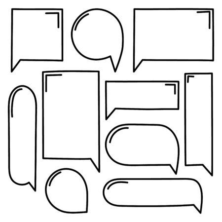 collection set of hand drawing line frame border, speech bubble balloon, think, speak, talk, text box, banner, flat vector illustration design