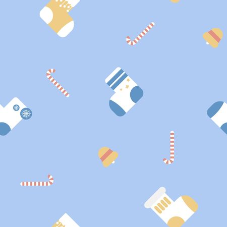 seamless merry christmas and happy new year with yellow and blue sock, candy cane and bell winter season repeat pattern in blue background, flat vector illustration cartoon character decor