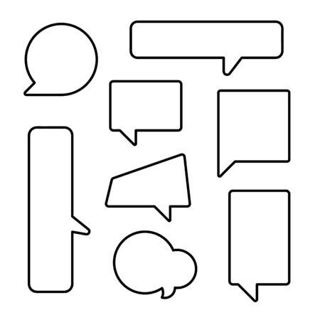 collection set of hand drawn line frame border,blank speech bubble balloon square shape, think, speak, talk, text box, banner, flat design vector illustration