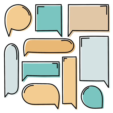collection set of cute hand drawn line frame border, blank speech bubble balloon circle and square shape orange and green color, think, speak, talk, text box, banner, flat design vector illustration