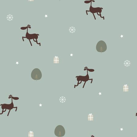 seamless merry christmas and happy new year with reindeer, star, gift present, snowflake, tree winter season repeat pattern in green background, vintage pastel color, flat vector illustration cartoon