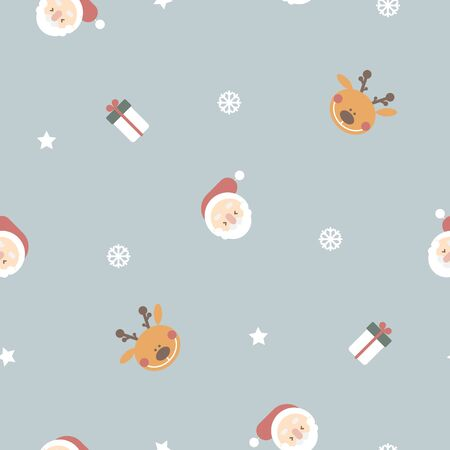 seamless merry christmas and happy new year with santa claus head, reindeer, star, gift present, snowflake, winter season repeat pattern in blue background, flat vector illustration cartoon
