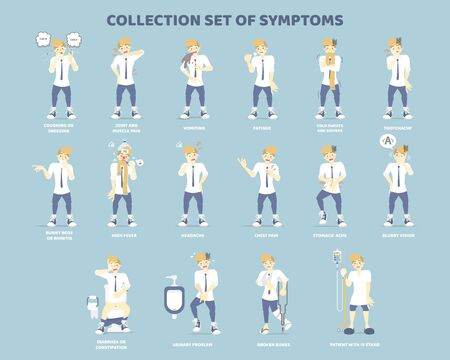 collection set of symptoms with man such as coughing, vomiting, stomach ache, headache, patient with iv stand, disease health care concept, flat character design clip art vector illustration