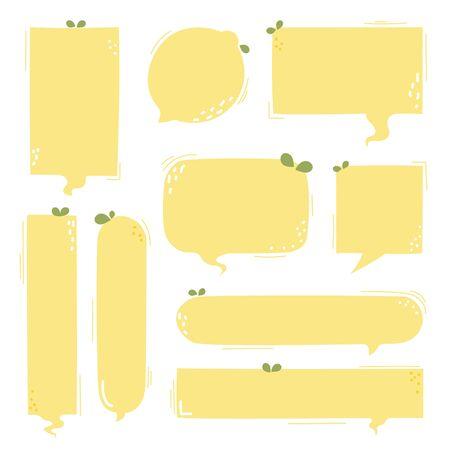 collection set of hand drawn line frame border, blank speech bubble balloon cute lemon circle and square shape, pastel color, think, speak, talk, text box, banner, flat design vector illustration Illusztráció