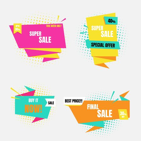 pop art halftone colorful special offer sale tag price, shopping concept, banner sign discount promotion price set, flat design, vector, illustration