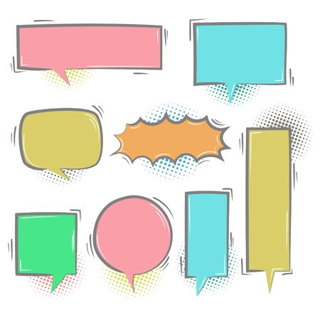 collection set of cute hand drawn line, blank pop art colorful halftone speech bubble balloon circle and square shape, think, speak, talk, text box, banner, flat design vector illustration Illusztráció