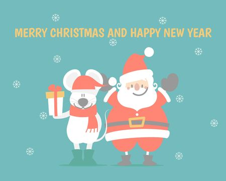 merry christmas and happy new year with cute santa claus and mouse holding gift box present, snowflake in green background, winter season, flat vector illustration cartoon character costume Illusztráció