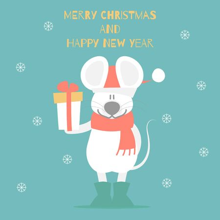 merry christmas and happy new year with cute mouse holding gift box present, snowflake in green background, winter season, flat vector illustration cartoon character costume