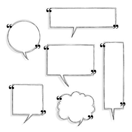 collection set of black and white hand drawn blank quotation mark speech bubble, think, speak, talk, text box balloon banner border frame, flat design vector illustration