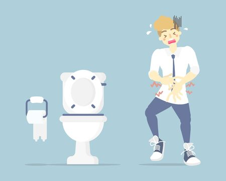 man having stomach ache, needing to urinate, holding his pee, poo, bladder, suffering from diarrhea or constipation, health care concept, sanitation concept, flat character design vector illustration