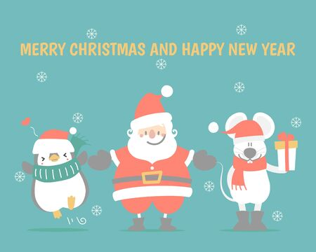 merry christmas and happy new year with cute and lovely hand drawn santa claus, mouse, penguin, snowflake, winter season green background, flat vector illustration cartoon character costume design Illusztráció