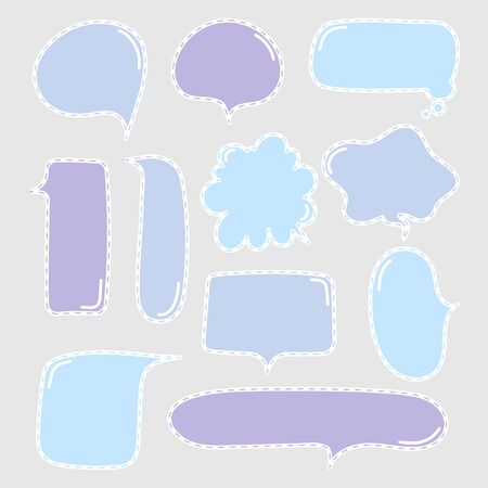 collection set of cute hand drawn line, blank speech bubble balloon circle and square shape, think, speak, talk, text box, banner, flat design vector illustration