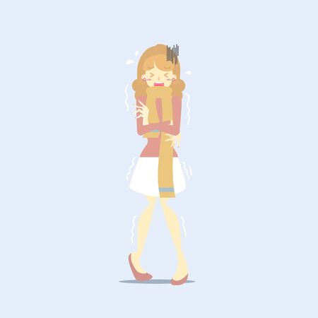 woman in yellow scarf, arm crossed shaking, shiver, chills, health care concept, vector illustration cartoon flat character design Illustration