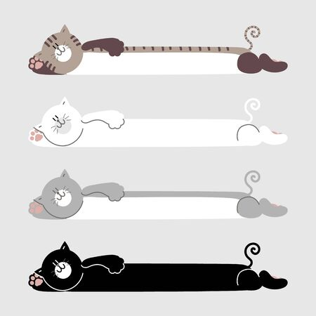 collection set of cute hand drawn cat text box, banner, board with paw, speech bubble balloon, template, flat design vector illustration
