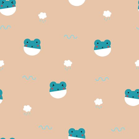 seamless minimal cute and lovely, pastel frog with cloud and rain drop repeat pattern in orange background, flat vector illustration design Illusztráció