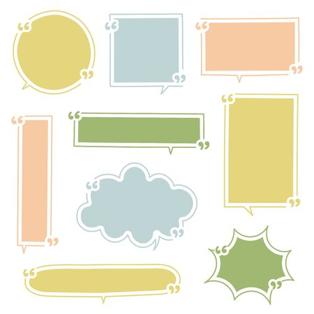 collection set of hand drawing line frame border, speech bubble balloon with quotation marks, speak, talk, text box, banner, flat design vector illustration