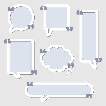 collection set of frame border, speech bubble balloon with quotation marks, speak, talk, text box, banner, flat design vector illustration Illusztráció