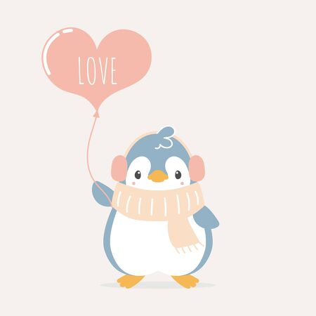 cute and lovely hand drawn penguin holding heart balloon, happy valentines day, love concept, flat vector illustration cartoon character costume design