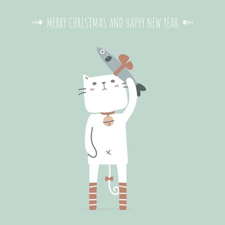 Merry christmas and happy new year with cute and lovely hand drawn cat holding fish in the winter season green background, flat vector illustration cartoon character costume design