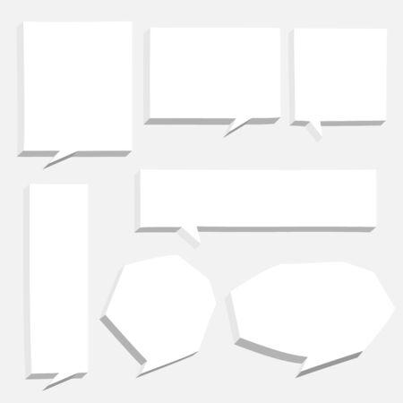 collection set of 3D hand drawn speech bubble balloon think, speak, talk, template, text box banner, flat design vector illustration