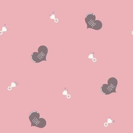 seamless minimal cute, sweet, pastel hand drawing chocolate heart shape with diamond ring repeat pattern in pink background, valentines day, wedding concept, flat vector illustration design