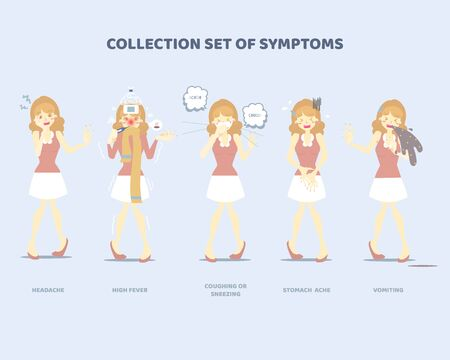 collection set of symptoms with woman such as sneezing, coughing, vomiting, high fever, stomach ache, headache, disease health care concept, flat character design clip art vector illustration