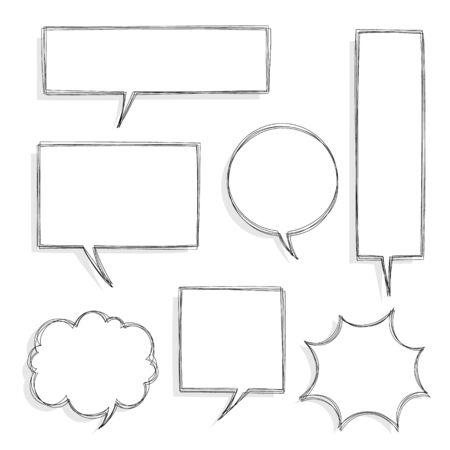 collection set of hand drawing speech bubble balloon, flat vector illustration design Illusztráció
