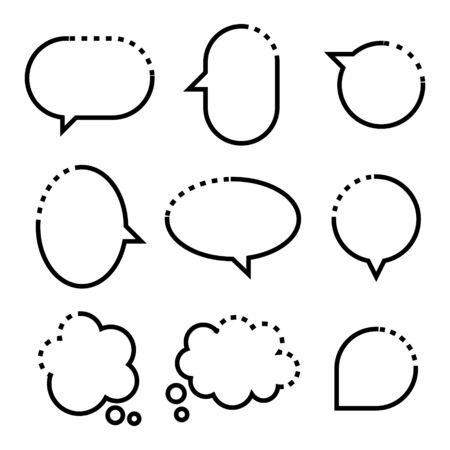 collection set of hand drawn line frame border, blank speech bubble balloon square shape, think, speak, talk, text box, banner, flat design vector illustration