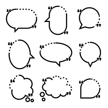 collection set of black and white line frame border, blank speech bubble balloon with quotation mark, think, speak, talk, text box, banner, flat design vector illustration