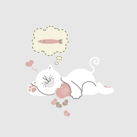 cute and lovely hand drawn cat hugging heart and think about fish, happy valentines day, love concept, flat vector illustration cartoon character costume design Illusztráció
