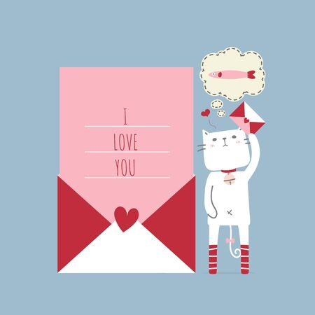 cute and lovely hand drawn cat holding love letter, thinking about fish with heart, happy valentines day, love concept, flat vector illustration cartoon character costume design Illusztráció