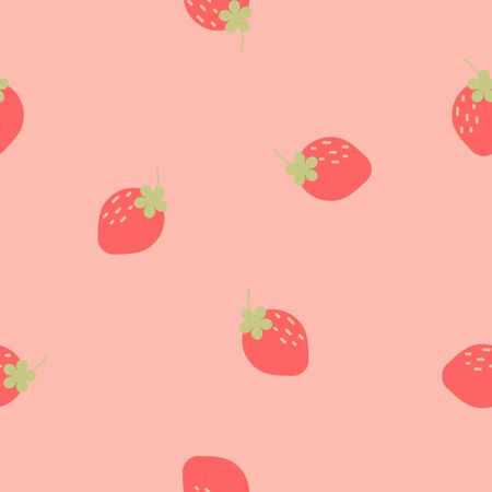 seamless strawberry repeat pattern in pink background, flat vector illustration design