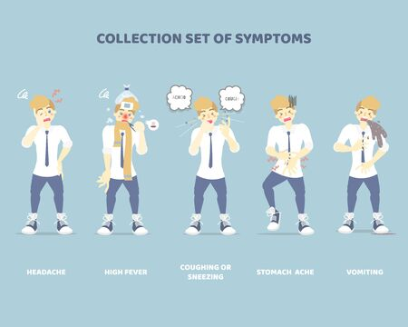 collection set of symptoms with man such as sneezing, coughing, vomiting, high fever, stomach ache, headache, disease health care concept, flat character design clip art vector illustration