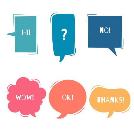 collection set of cute, sweet hand drawn blank speech bubble balloon think speak talk template text box banner frame, flat, design, vector, illustration