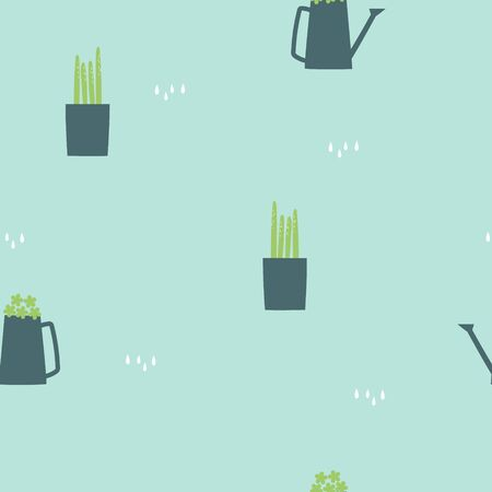seamless hand drawing cactus and watering can repeat pattern in green background, nature concept, flat vector illustration design