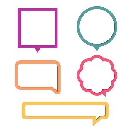 collection set of blank colorful speech bubble balloon, think, speak, talk, text box, banner, flat design, vector illustration Illusztráció