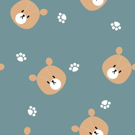 seamless animal wildlife cute teddy bear with paw foot print repeat pattern background, flat vector illustration design character cartoon Illusztráció