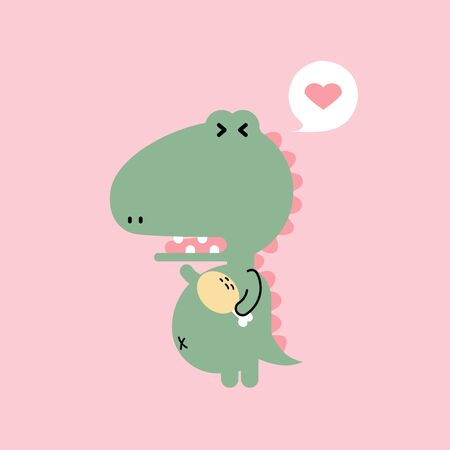 cute and lovely hand drawn dinosaur, crocodile holding meat with heart, happy valentines day, love concept, flat vector illustration cartoon character costume design
