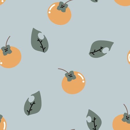 seamless cute, sweet, pastel, persimmon with leaf repeat pattern in blue background, flat vector illustration design