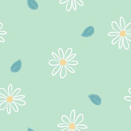 seamless wood pencil, crayon doodle hand drawing grunge line art flower with leaf repeat pattern in green background, flat vector illustration design