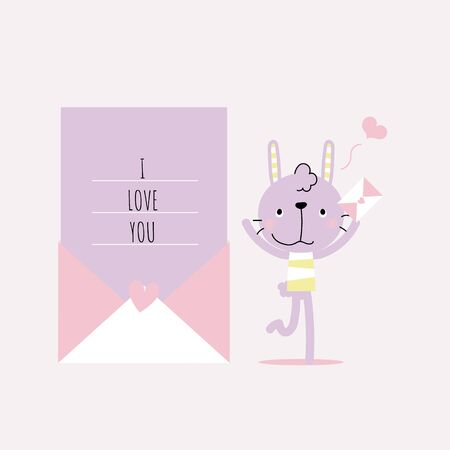 cute and lovely hand drawn rabbit bunny holding love letter with heart, happy valentines day, love concept, flat vector illustration cartoon character costume design